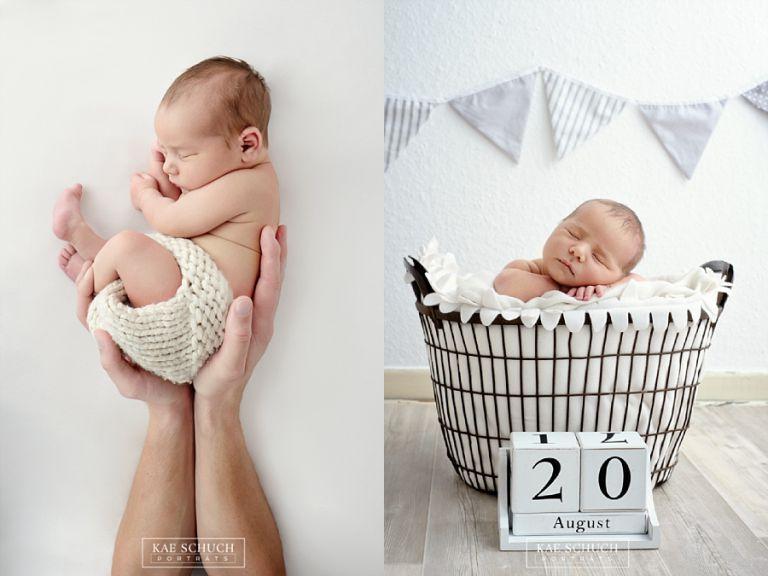 Baby Fotos von saügling in Papas hände und Korb typisch für die Baby Fotografie mit Geburststag
