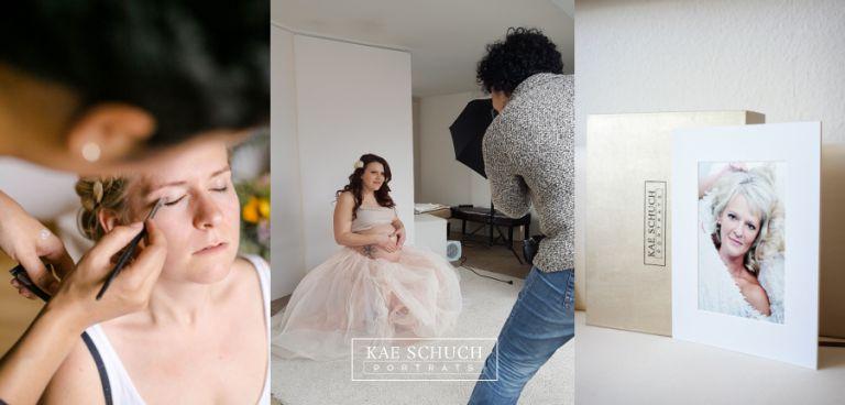 fotografische aufnahmen von schminken und bts von fotoshooting mit eine produkt bild